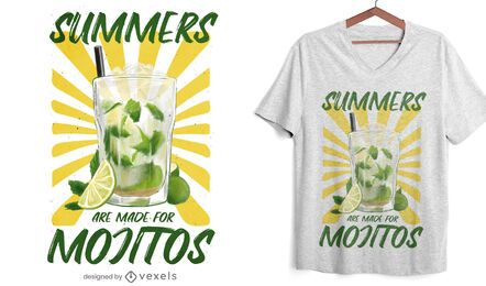 Diseño de camiseta de bebida de verano mojito.