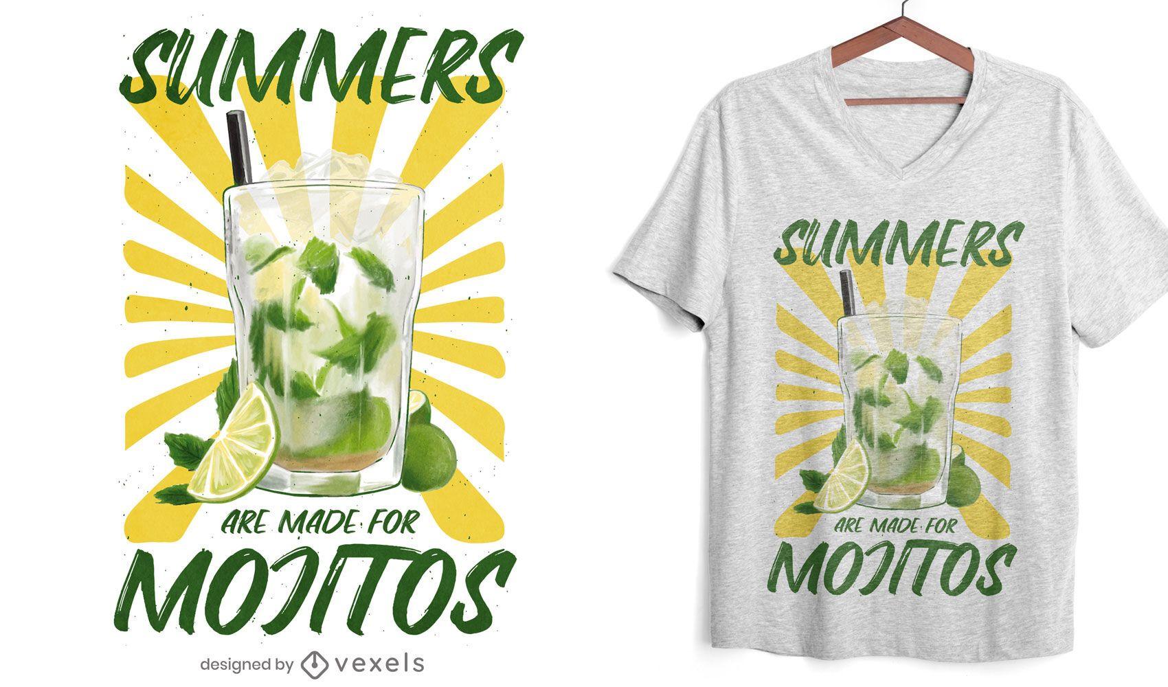 Mojito Sommergetränk T-Shirt Design