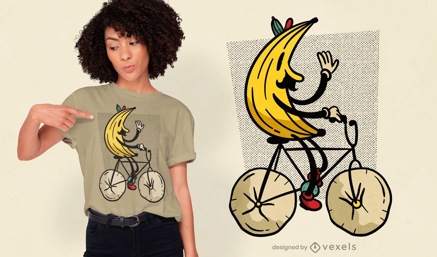 Diseño de camiseta divertida de bicicleta de plátano.