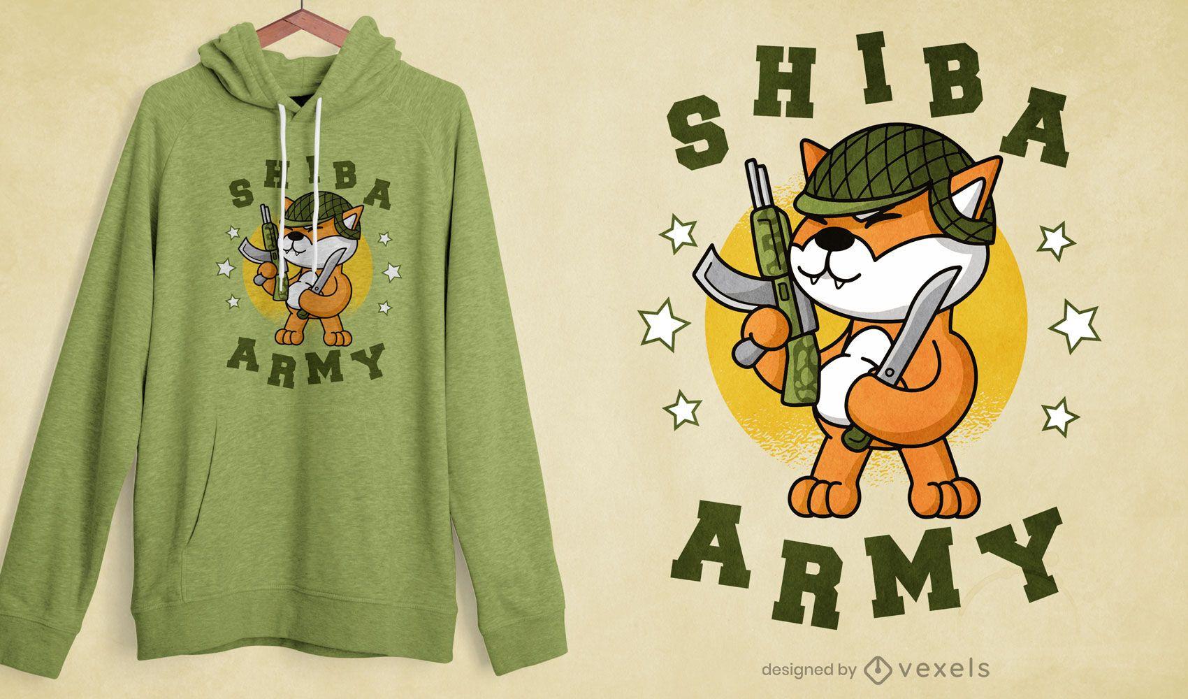 Design de t-shirt shiba inu cão do exército