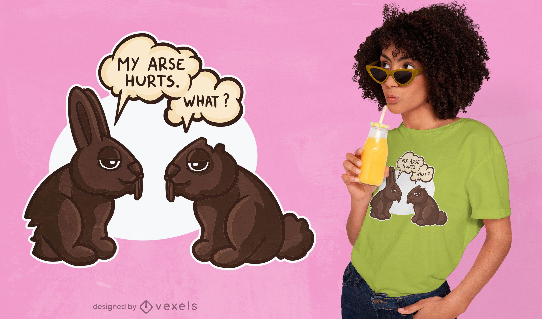 Design engraçado de camisetas de coelhos de chocolate