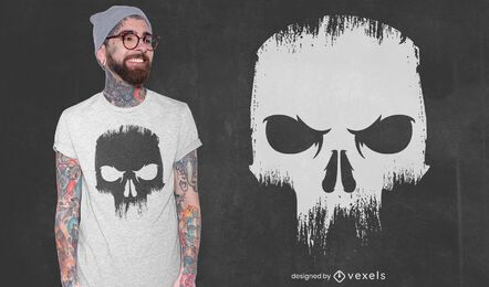 Wütend Totenkopf gruseliges T-Shirt Design