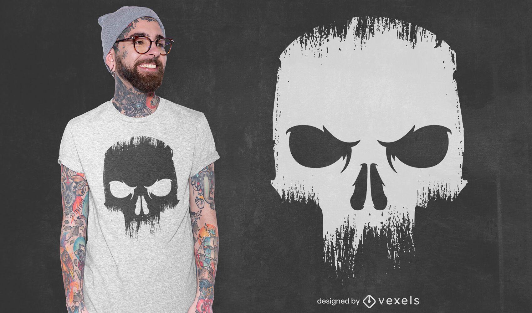 Design de camiseta assustadora com caveira zangada