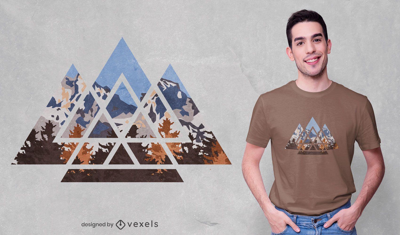 Desenho geométrico de t-shirt com paisagem de montanha