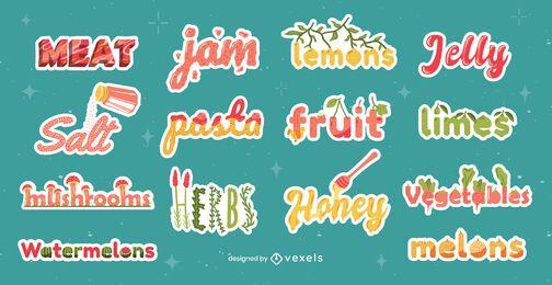 Autocolantes de comida com letras brilhantes