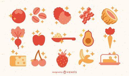 Elementos alimentares planos e brilhantes
