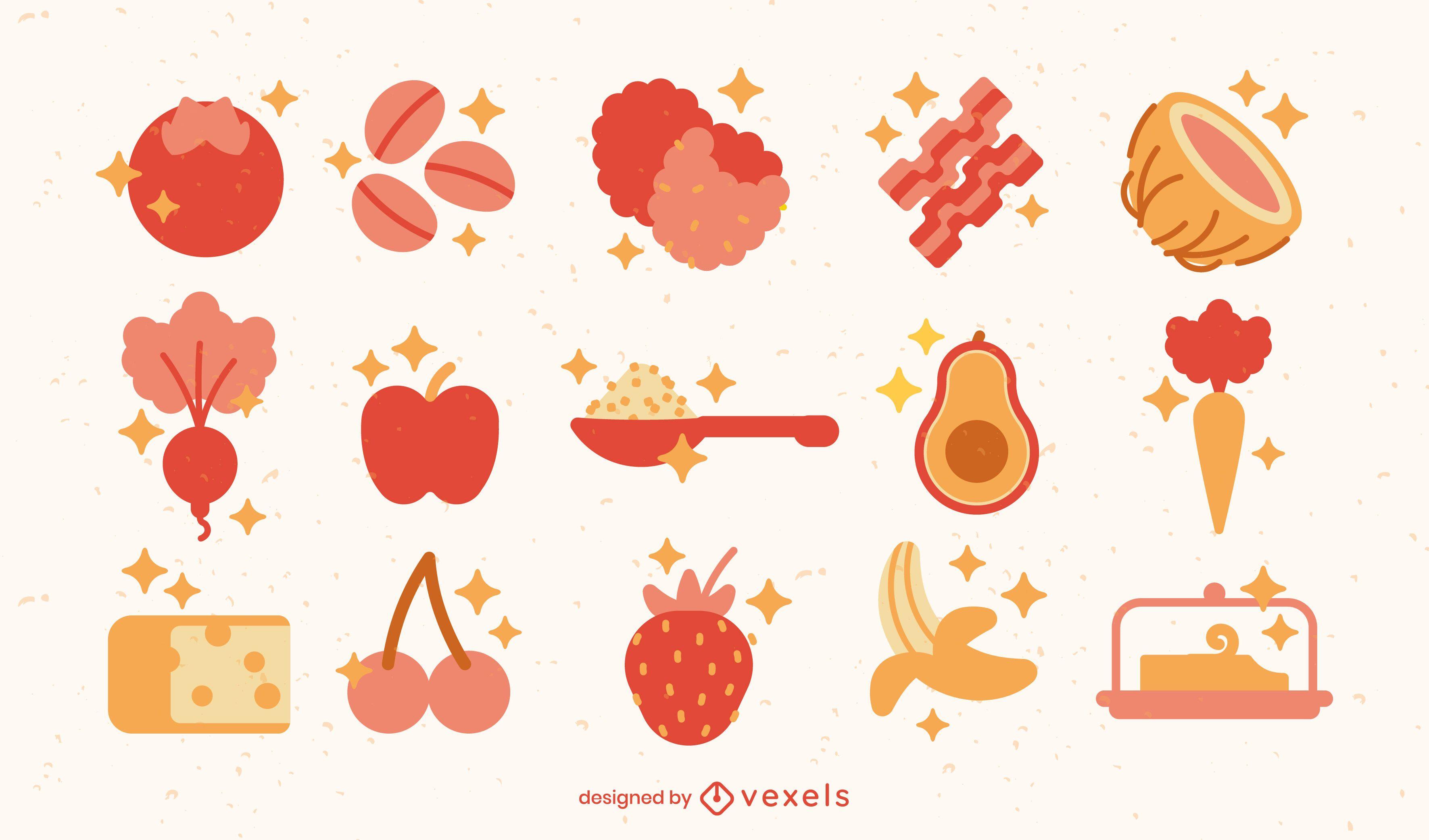 Elementos planos de comida brillante