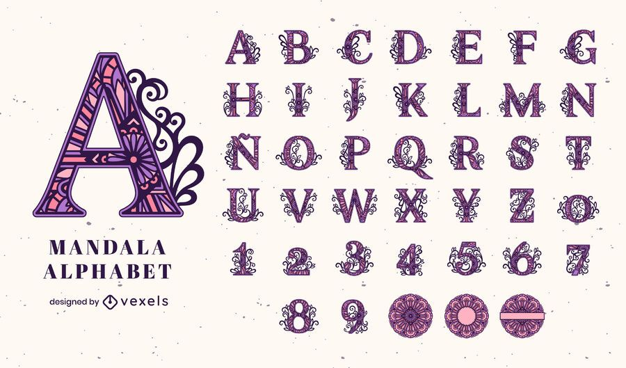 Alfabeto com tema de traço de cor de mandala