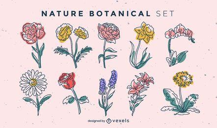 Set of color stroke flowers