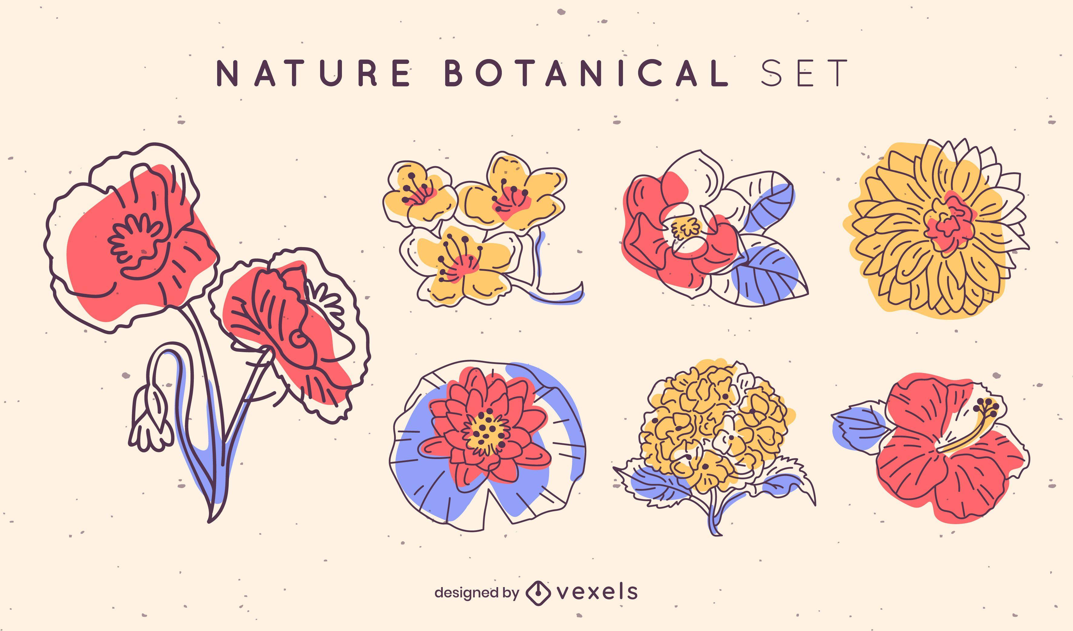 Set color stroke flowers