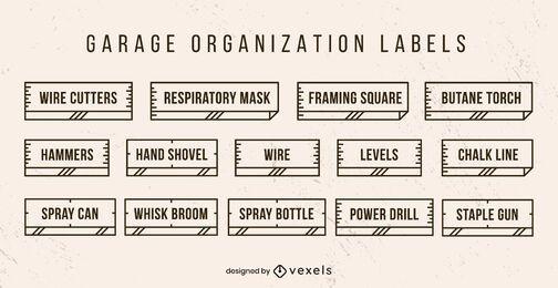 Conjunto de etiquetas de organización de garaje.