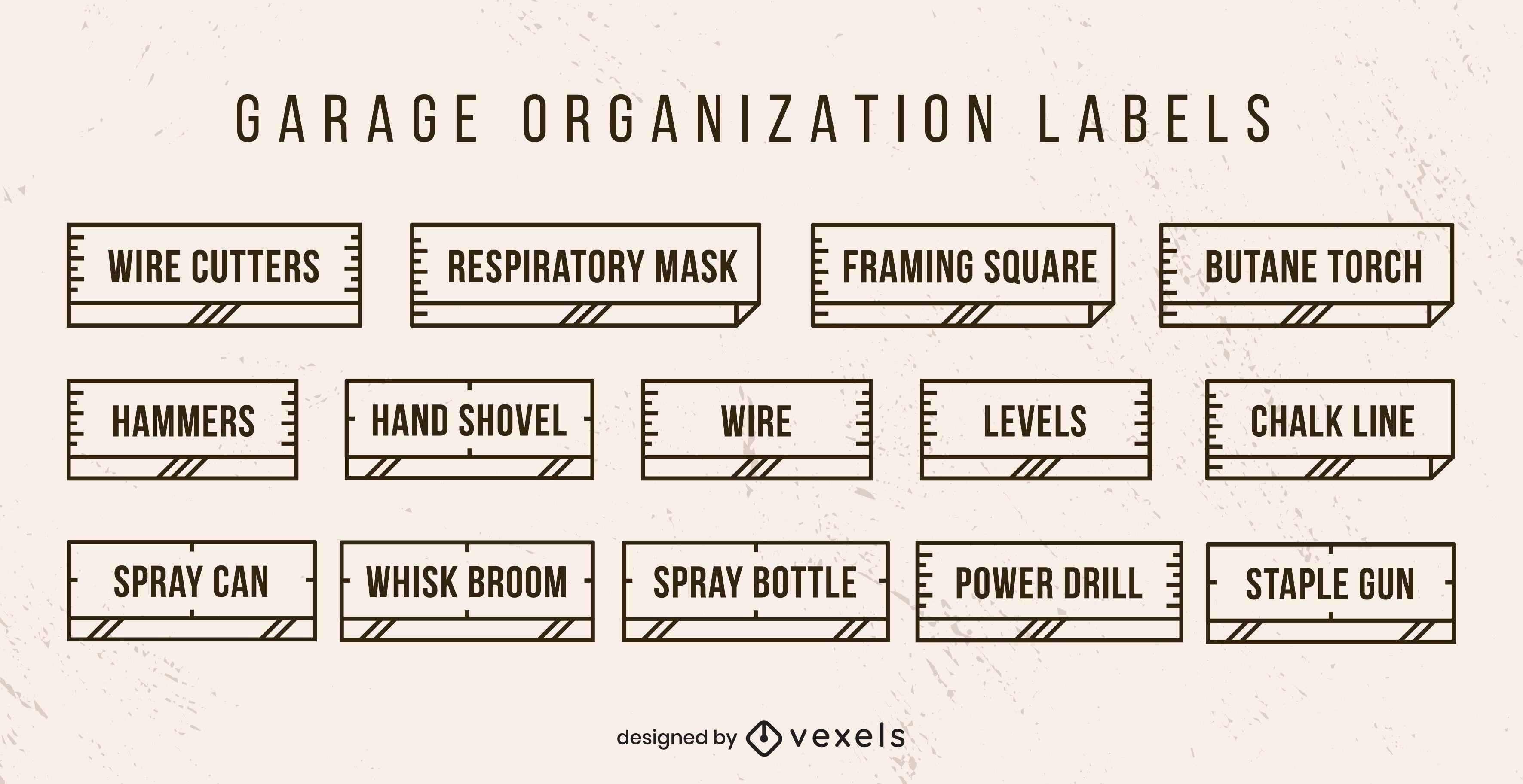 Conjunto de etiquetas de organização de garagem