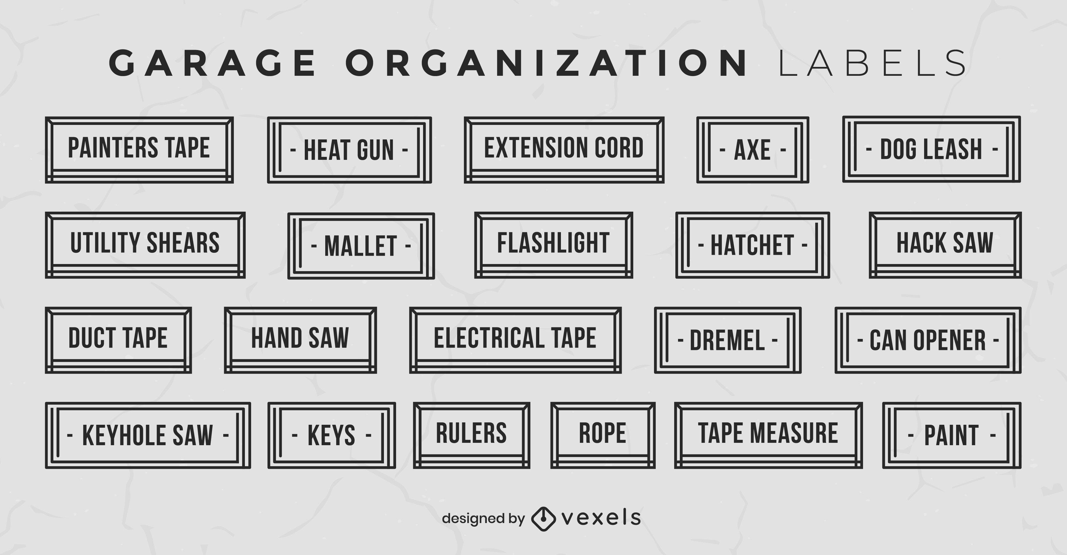 Conjunto simples de rótulos de organização de garagem