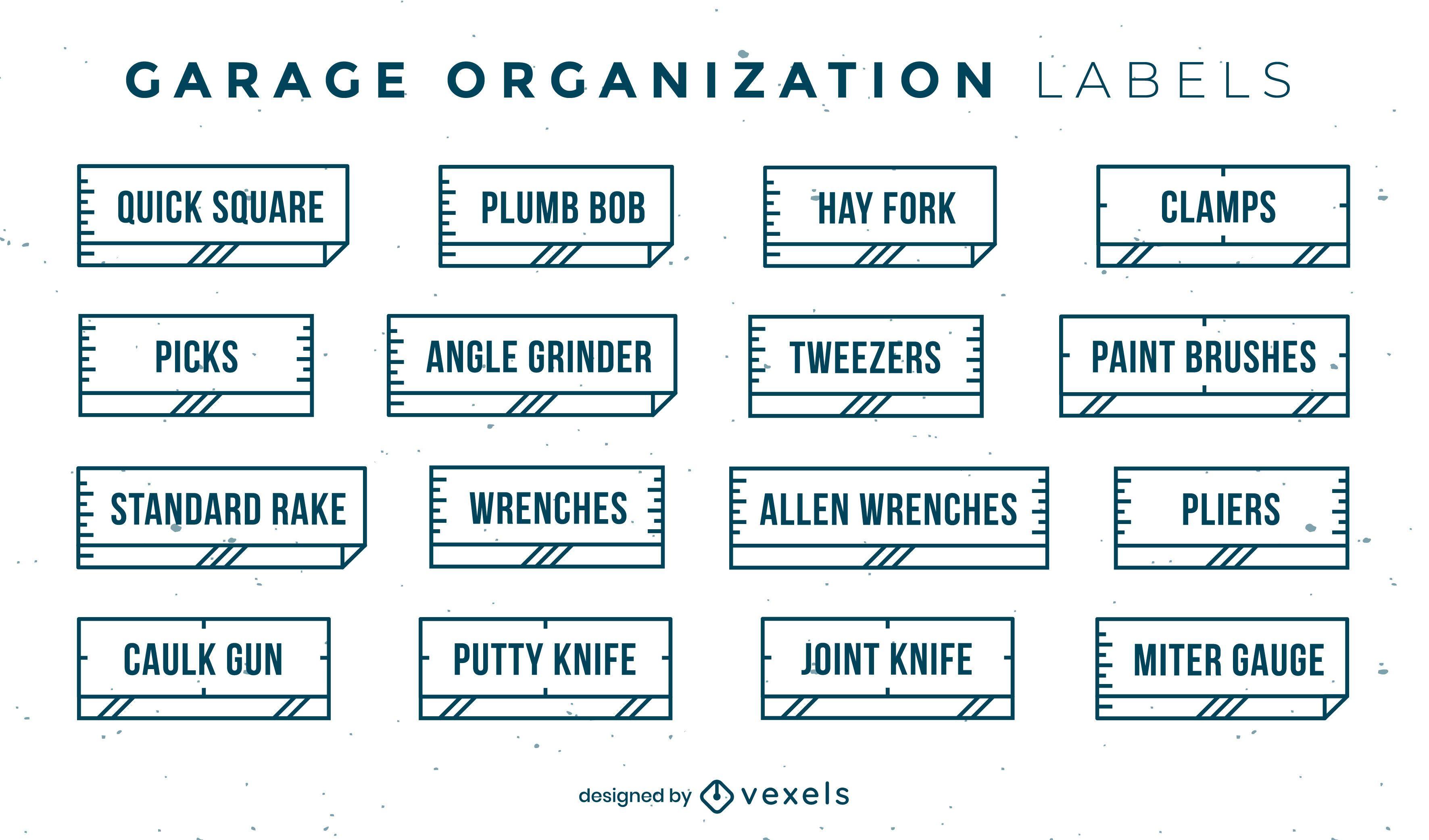 Conjunto de rótulos de organização de ferramentas planas