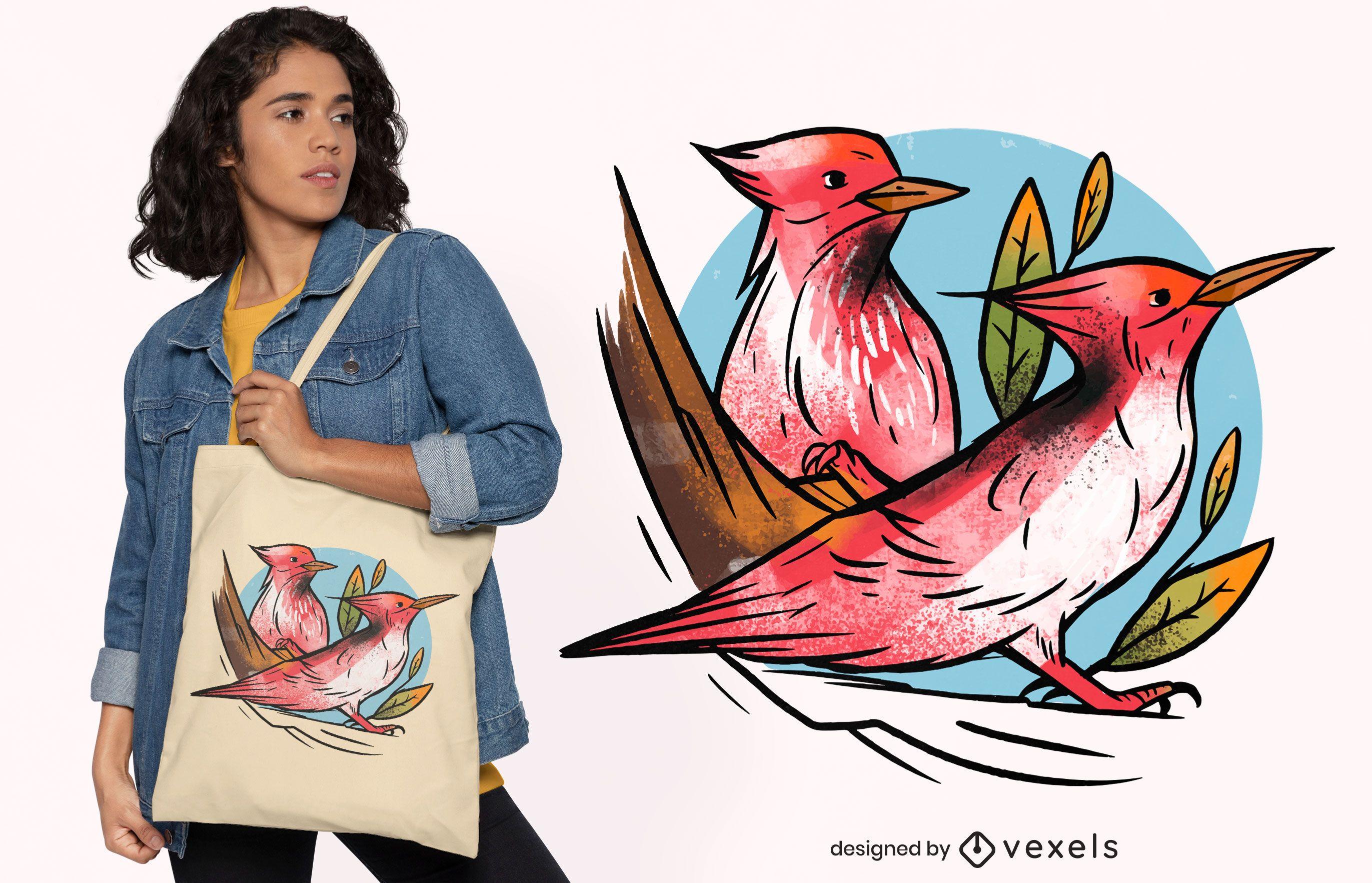 Design de sacola da natureza dos pássaros do pica-pau