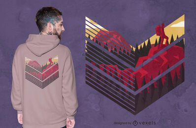 Diseño de camiseta de paisaje de montaña escalada.