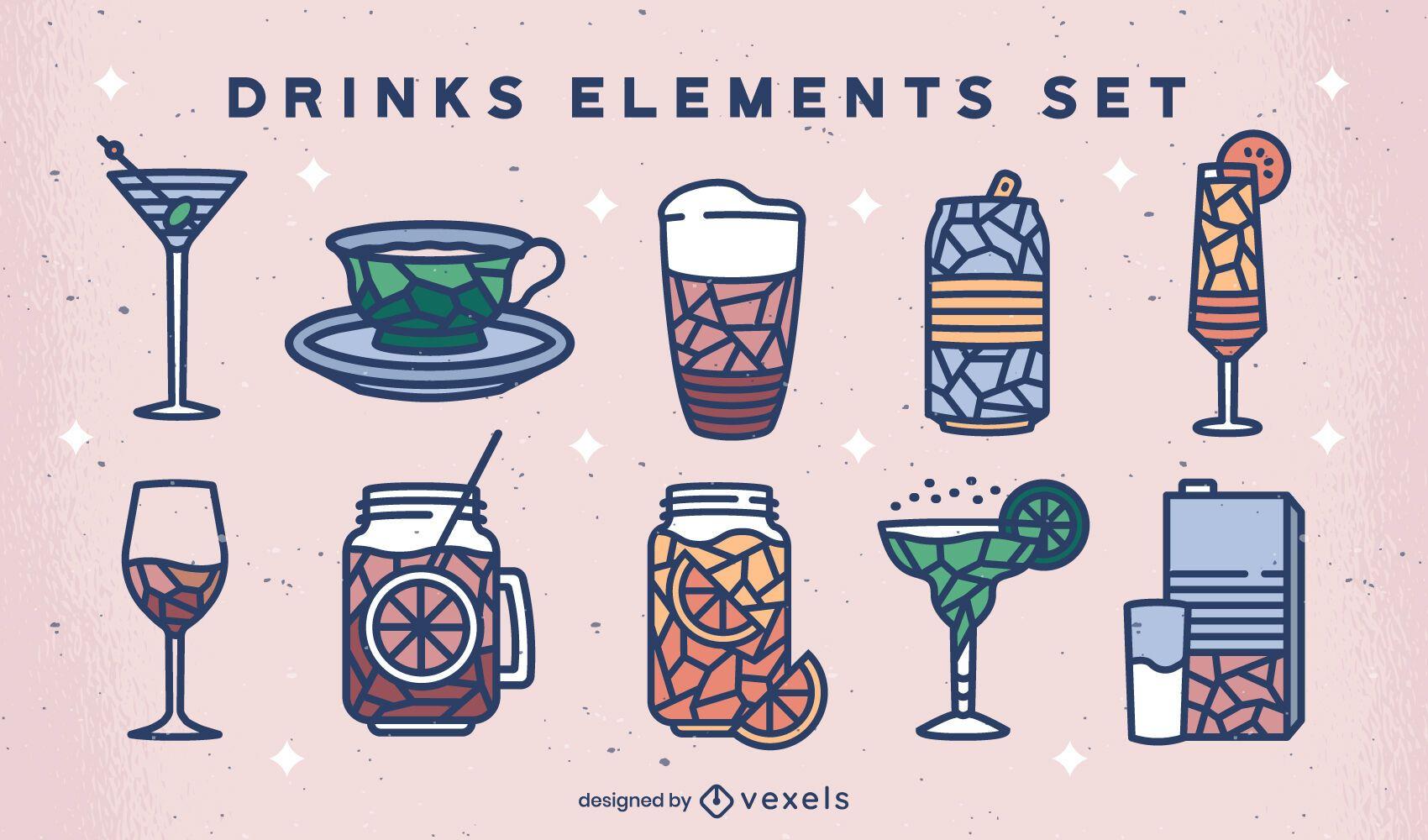 Conjunto geométrico de bebidas coloridas