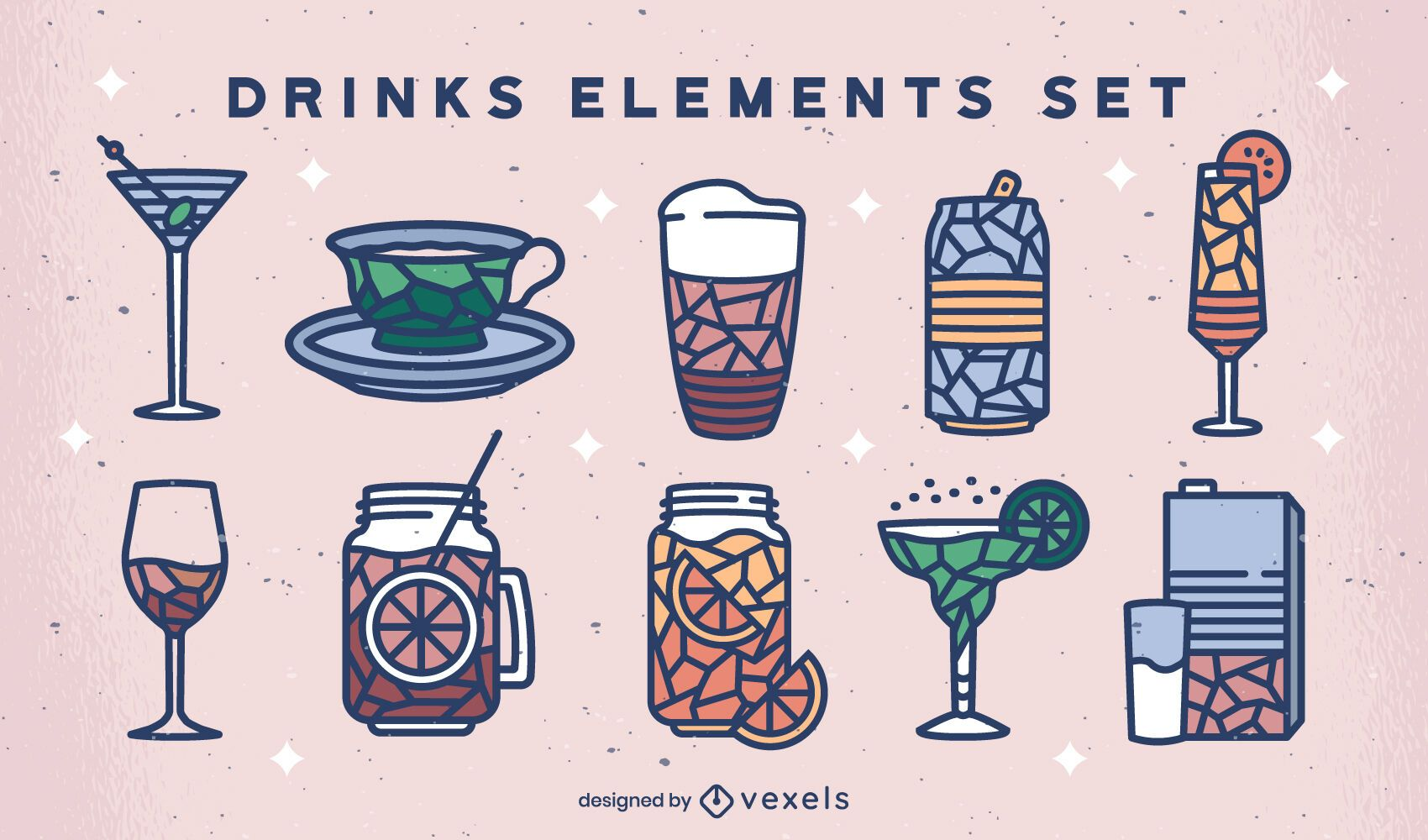 Geometric drinks color stoke set