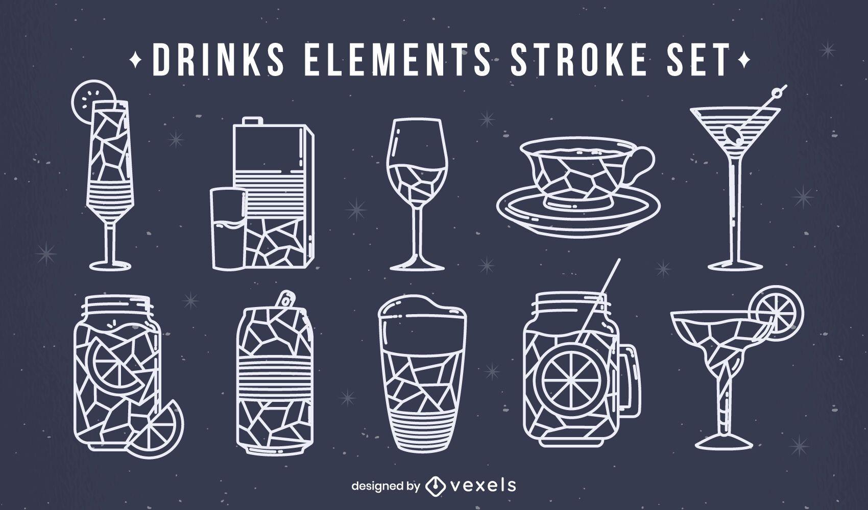 Bebidas stoke poligonal set