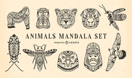 Set of mandala animals filled stroke