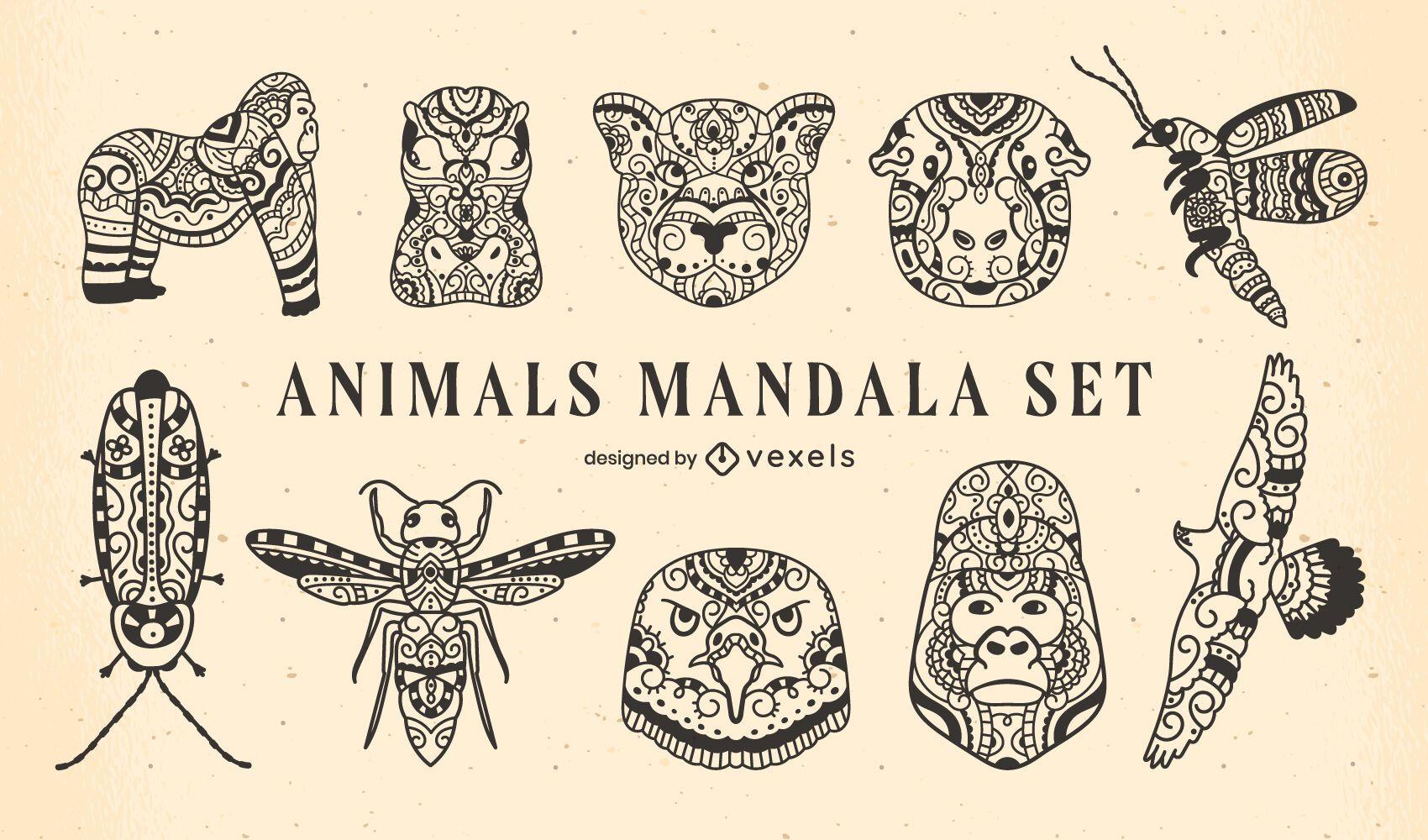 Satz von Mandala-Tieren gefüllter Strich