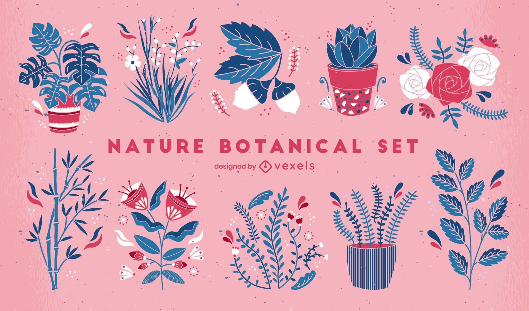 Conjunto de plantas y flores planas.