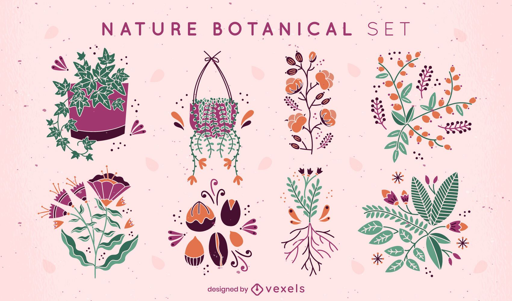 Conjunto plano de plantas e flores