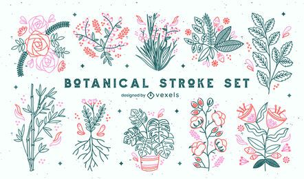 Cute set of line art plants and flowers