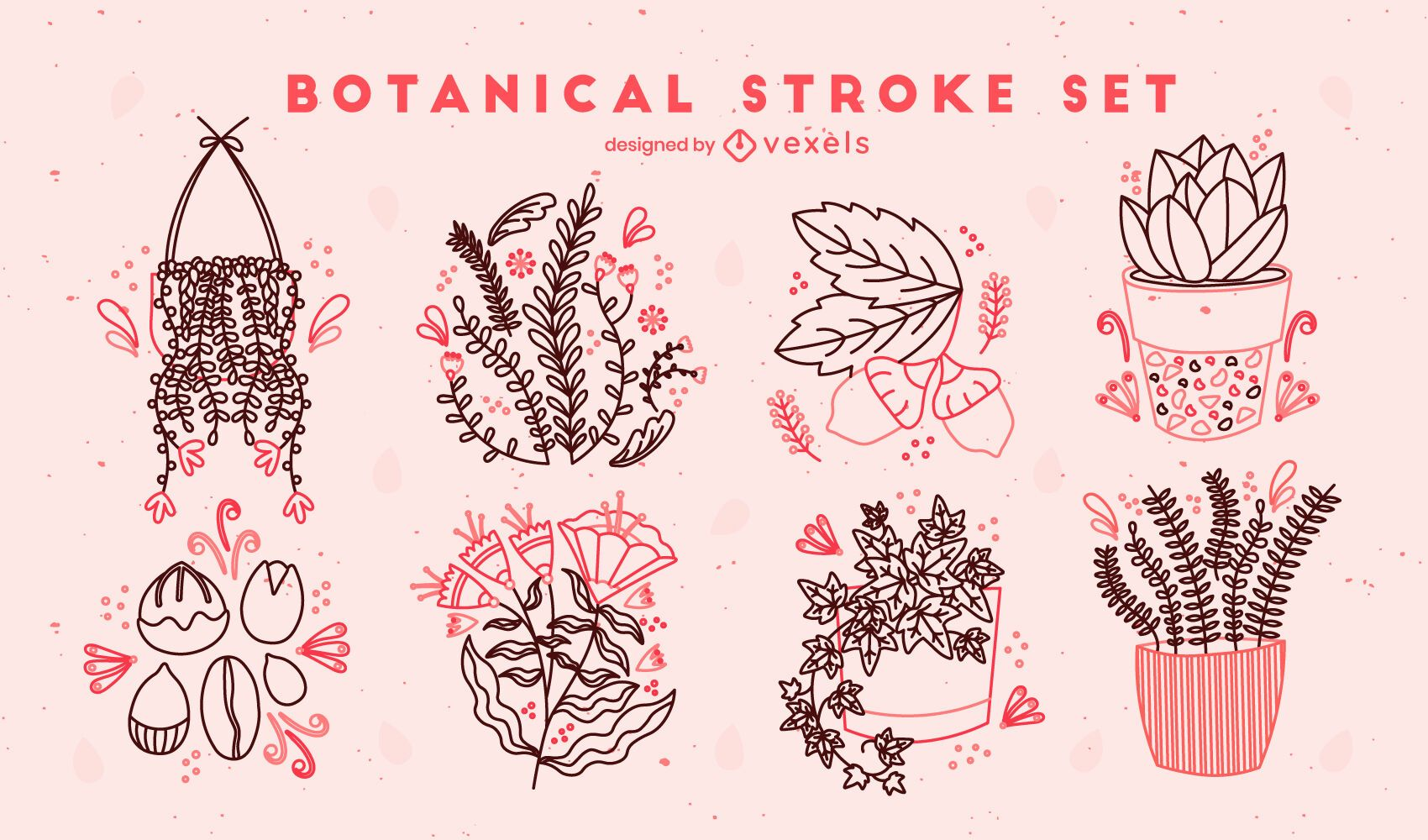 Conjunto de pinceladas de plantas e flores