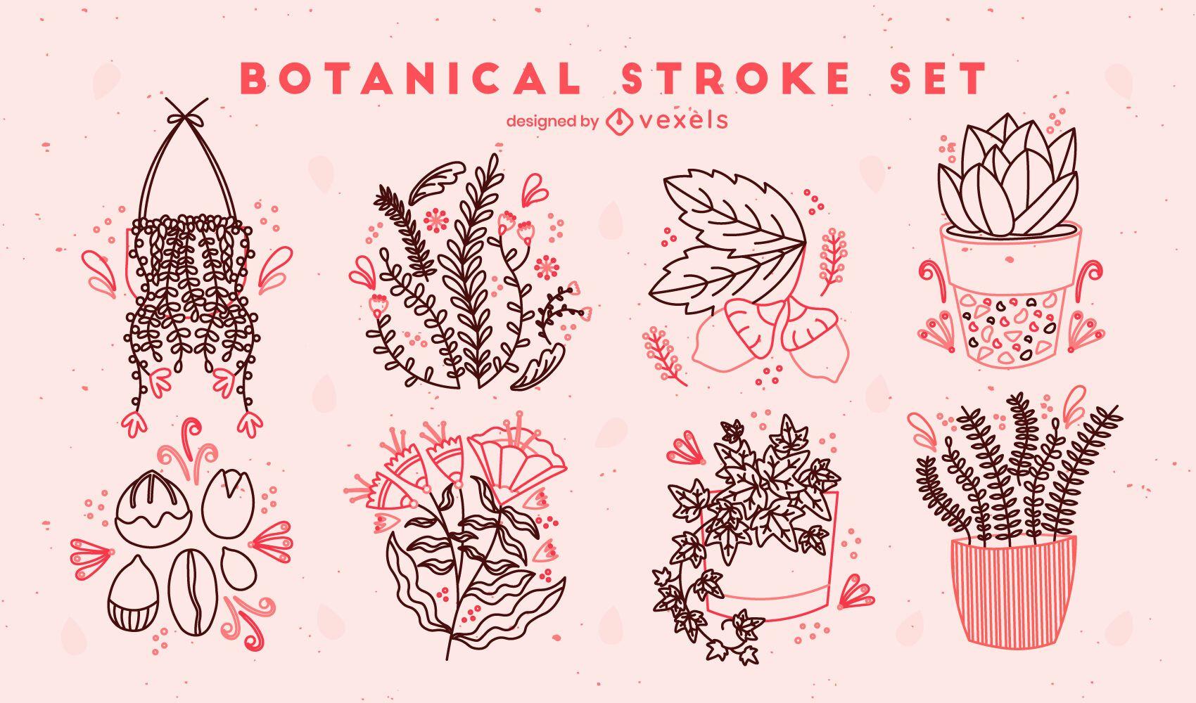 Conjunto de trazos de plantas y flores.