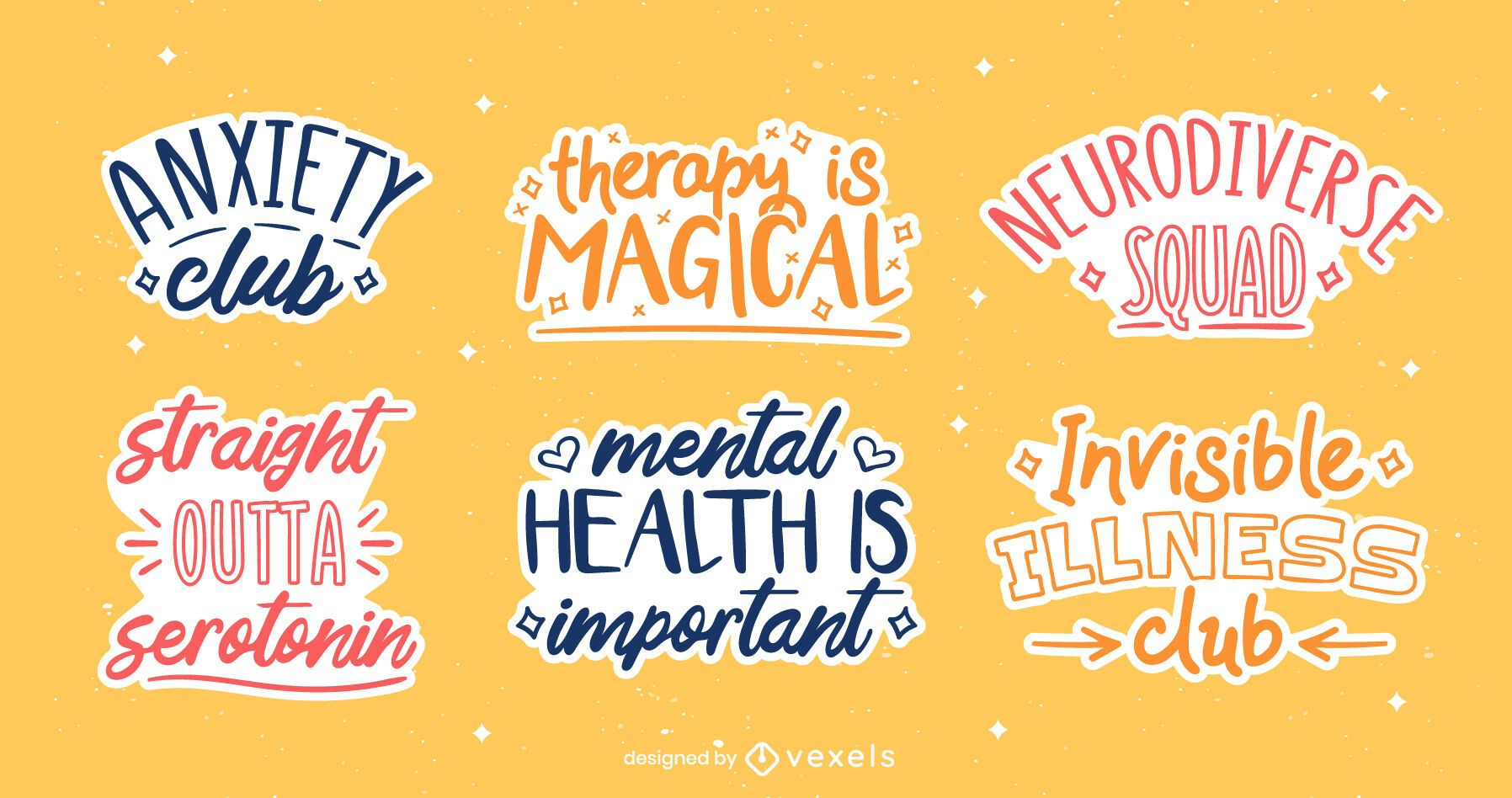 Mental health awareness quote badges
