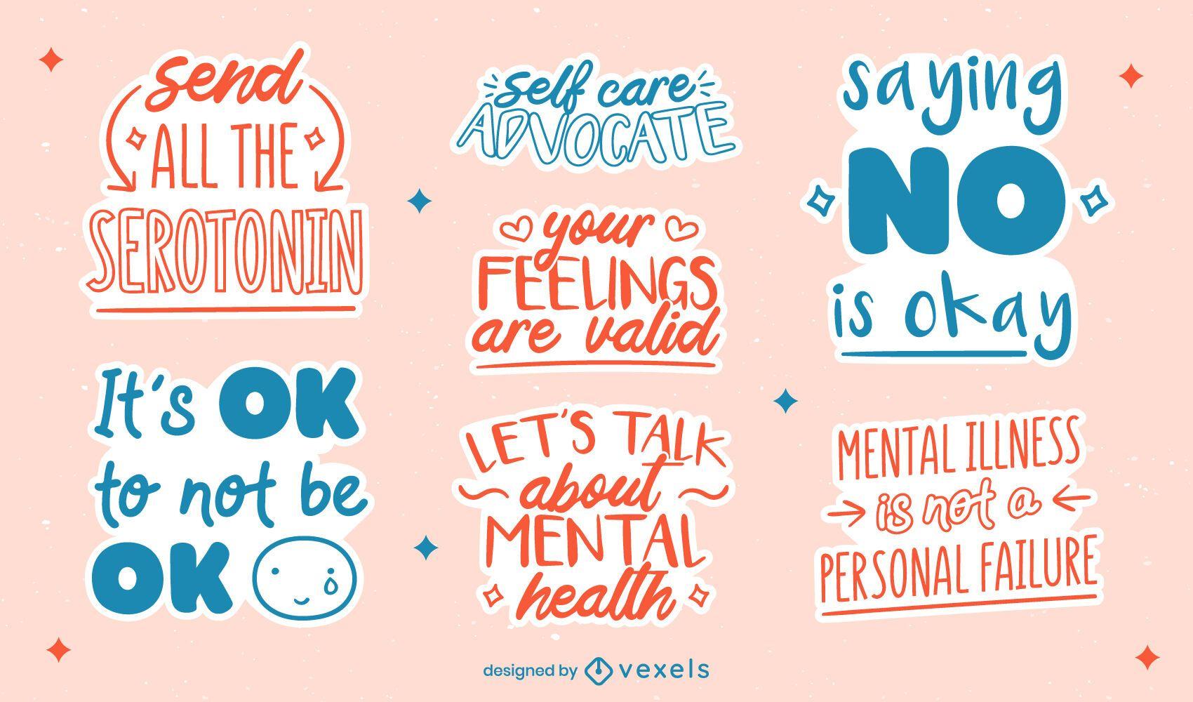 Conjunto de inscrições de conscientização sobre saúde mental