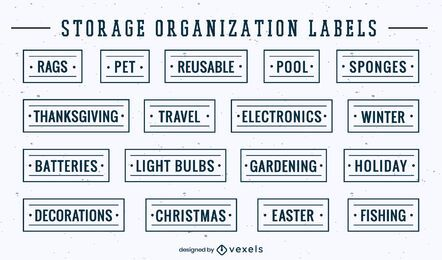 Set of item and tools organization labels