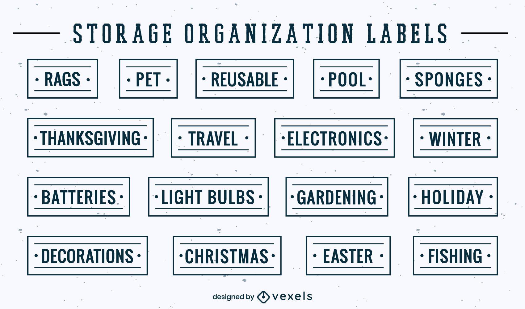 Conjunto de etiquetas de organización de elementos y herramientas.