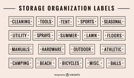 Conjunto de rótulos de organização de armazenamento