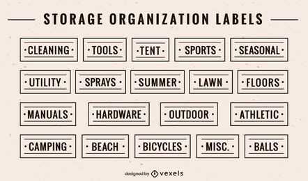 Set of storage organization labels