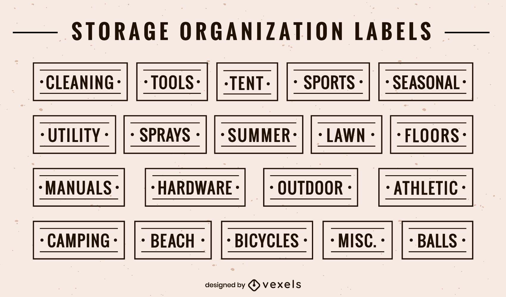 Conjunto de etiquetas de organización de almacenamiento