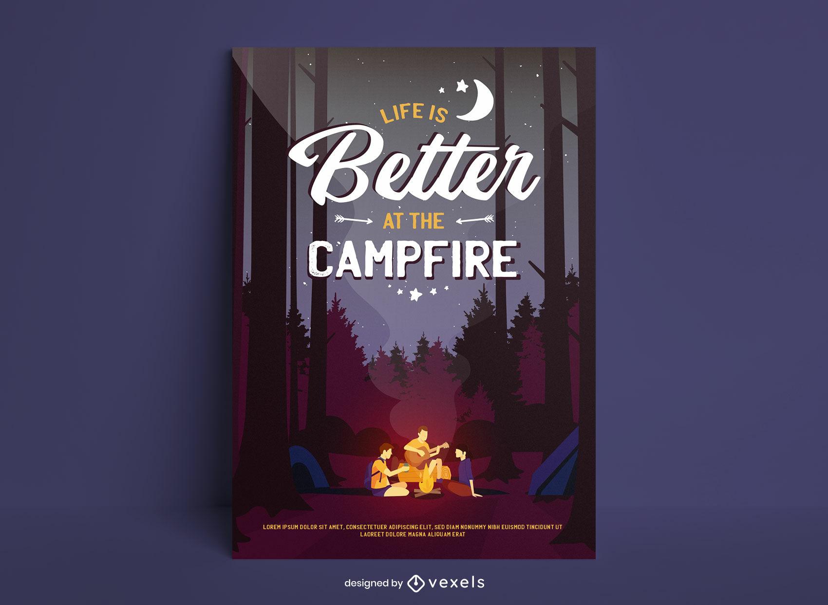 La vida es mejor en el cartel del campamento.