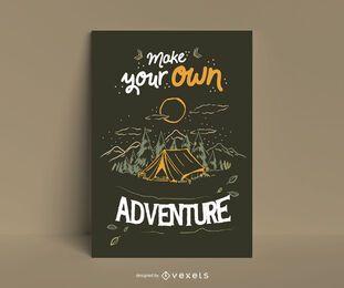 Faça seu próprio pôster de aventura no acampamento