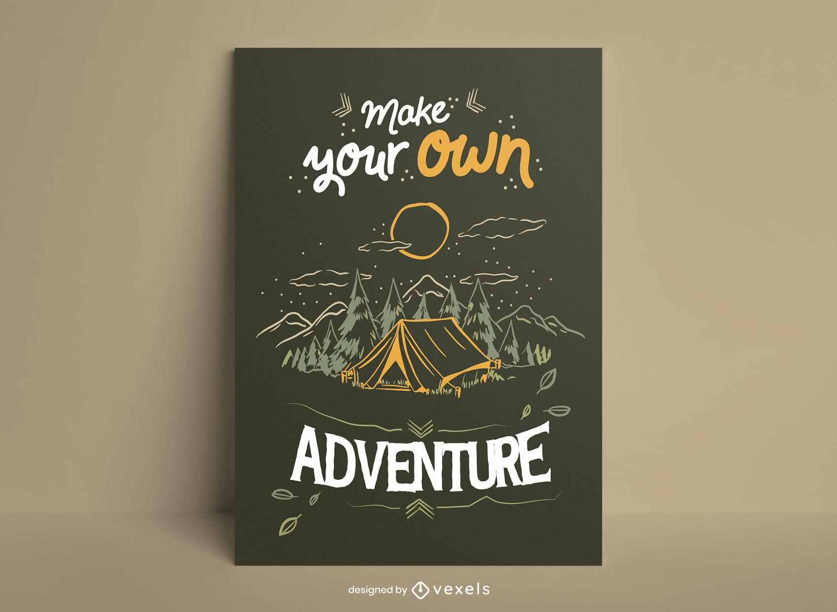 Haz tu propio cartel de camping de aventuras.