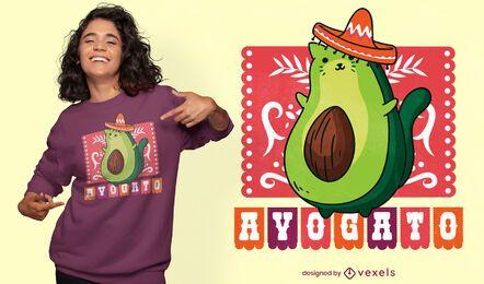 Diseño de camiseta mexicana gato aguacate.