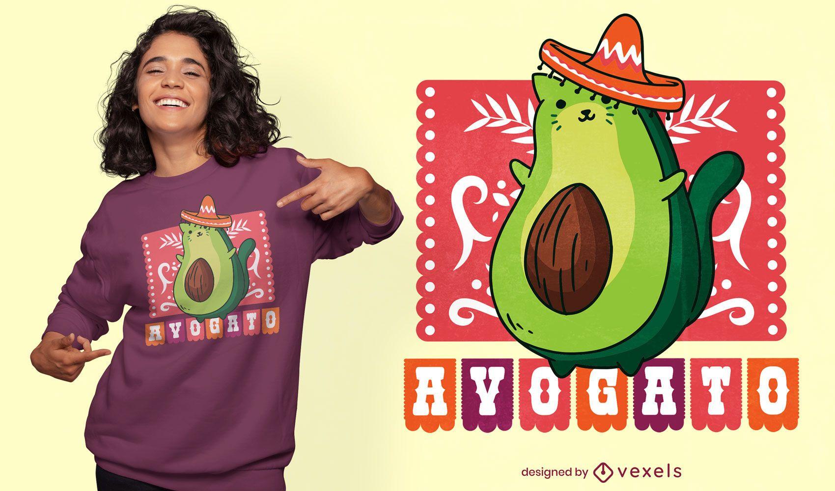 Design de t-shirt mexicana de gato abacate