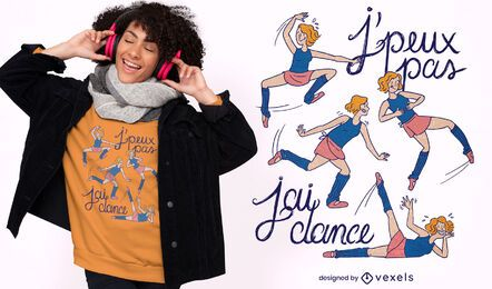 Diseño de camiseta de niña bailarina de ballet torpe