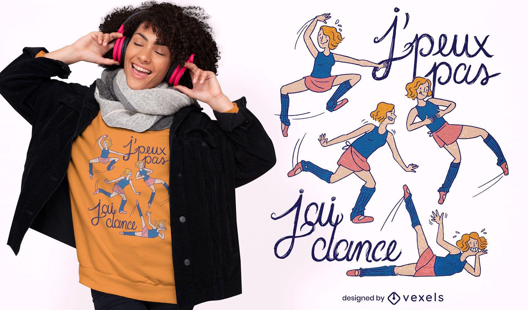 Design desajeitado de camiseta para dançarina de balé