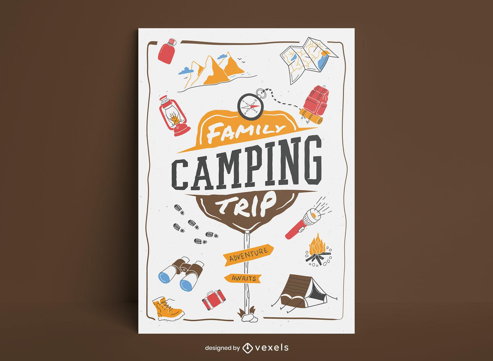 Cartel de letras de viaje de campamento familiar