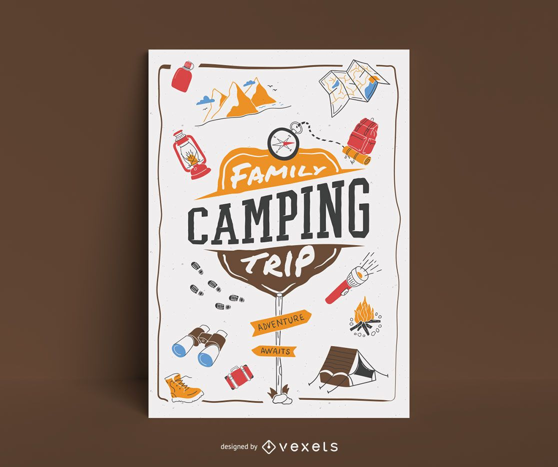 Family camping trip lettering poster