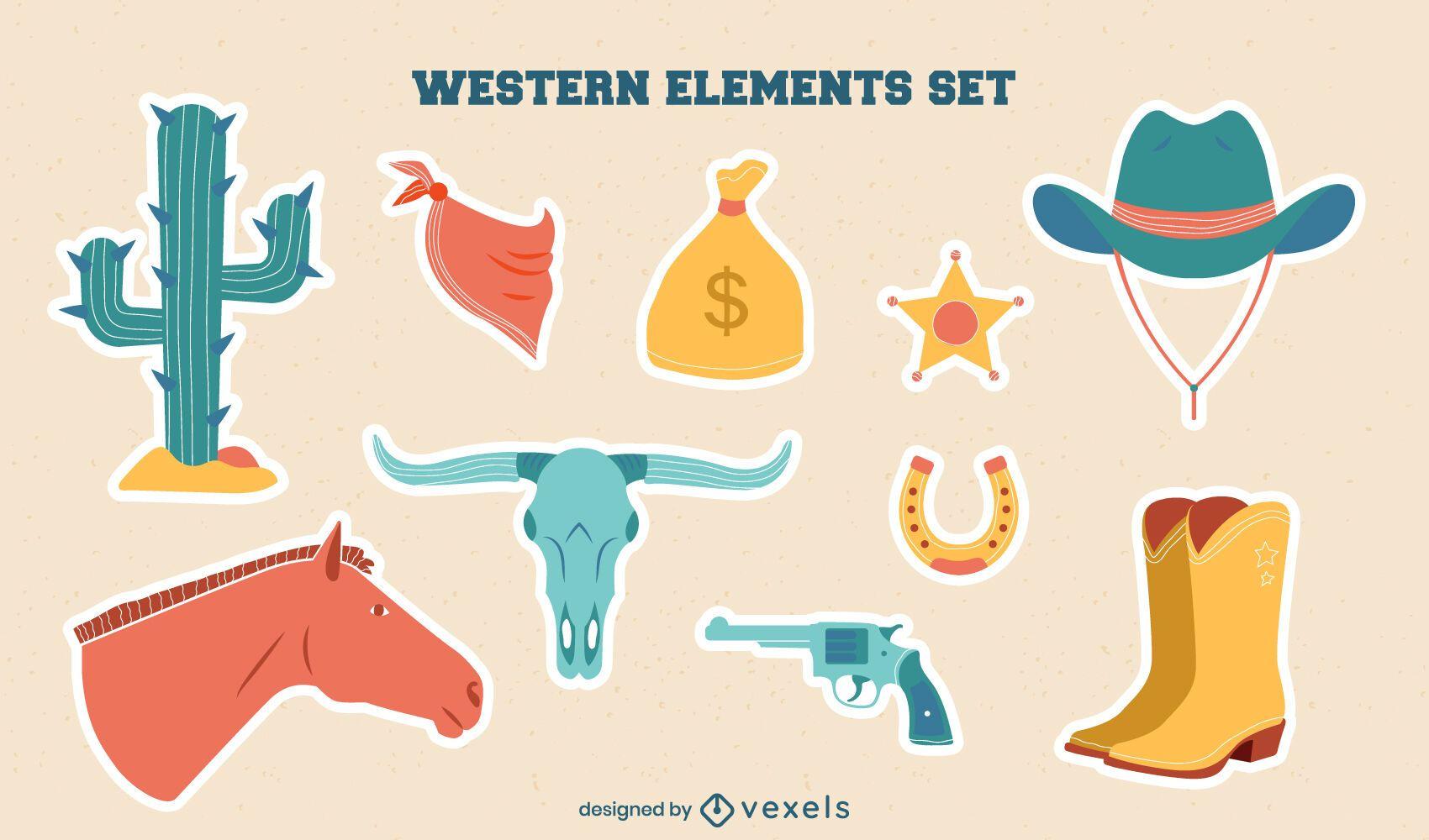 Conjunto de pegatinas de elementos occidentales