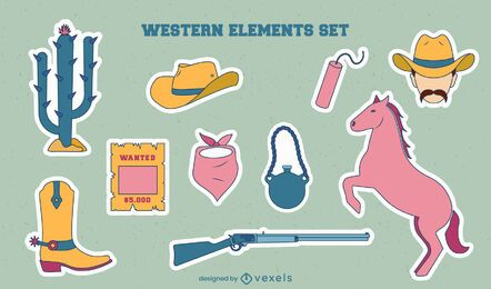 Conjunto de adesivos de elementos de cowboy
