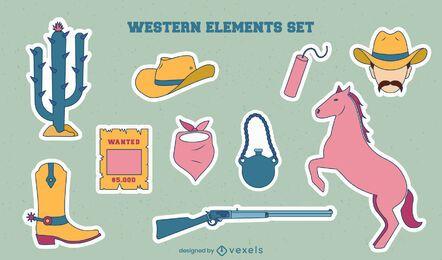 Set of cowboy elements stickers