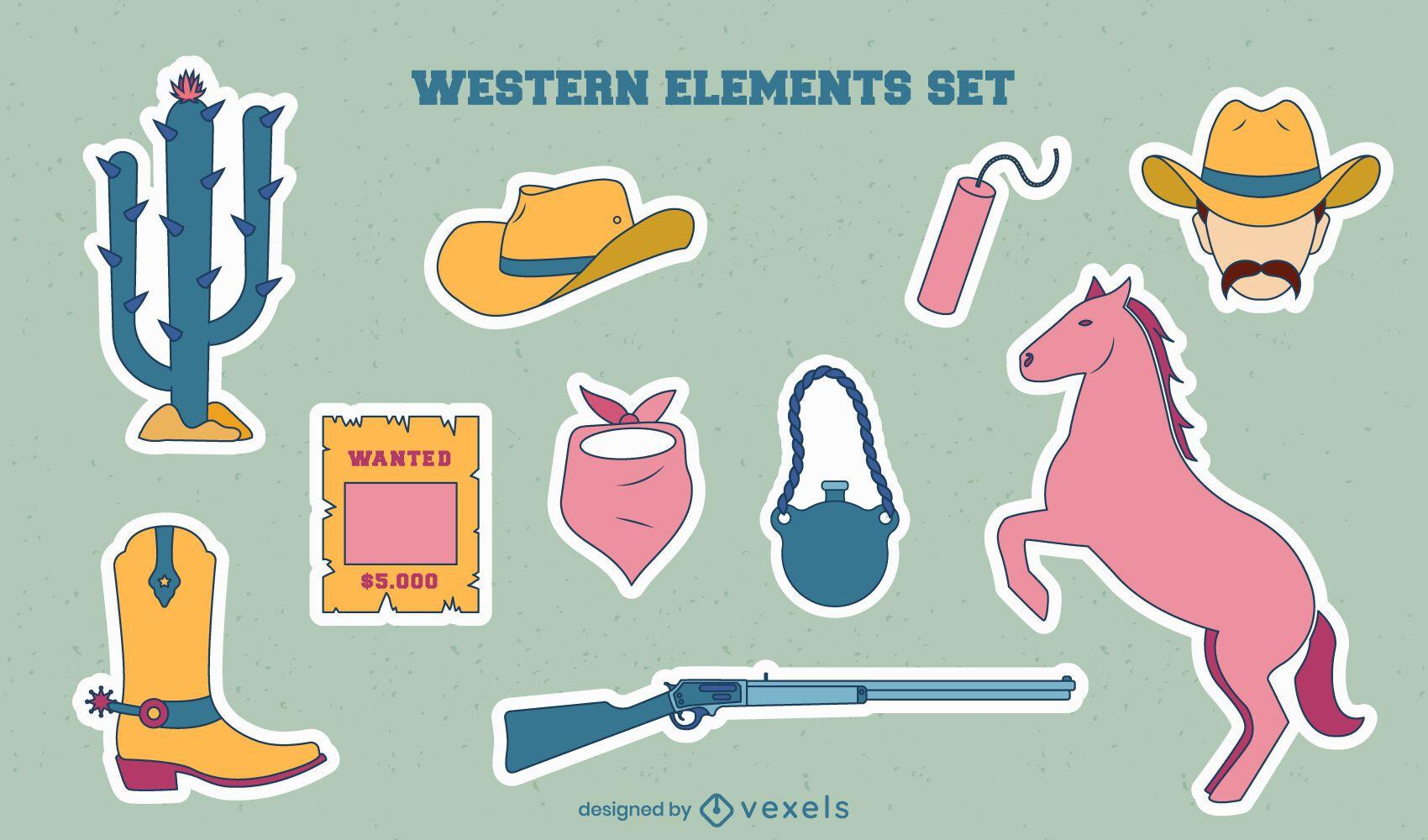Conjunto de pegatinas de elementos de vaquero
